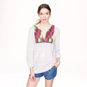 J. Crews Embroidered Stripe Tunic